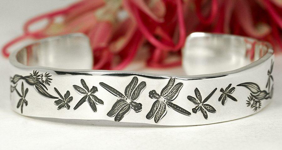 Dragonfly-Drama-sterling-silver-cuff-dragonflies-john-miller-designDragonfly-Drama-John-Miller-Design-Australian-Jewellery