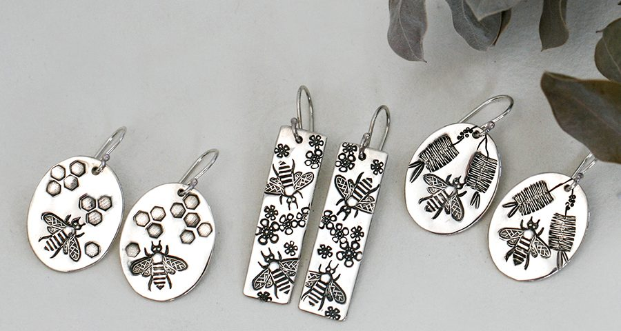 bees-sterling-silver-honeycomb-flowers-earrings-john-miller-design