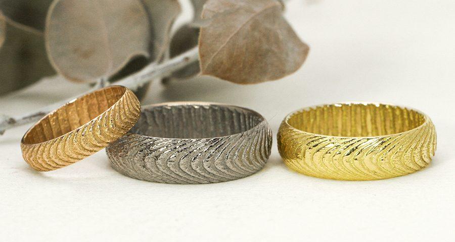 cuttlefish textured rings white-yellow rose gold john miller design