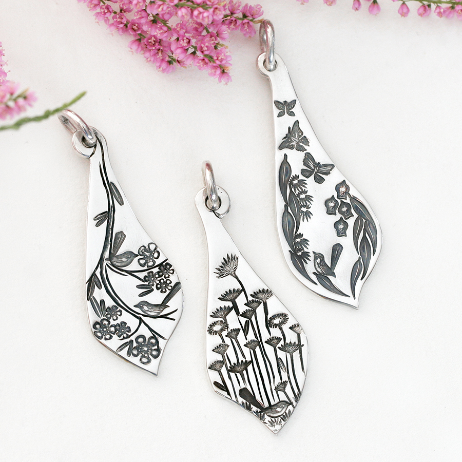 fancy-pendants-john-miller-design-sterling-silver-flowers-flora-wrens-butterflies