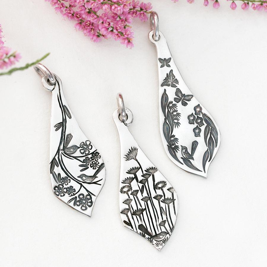 fancy-pendants-john-miller-design-sterling-silver-flowers-flora-wrens-butterflies