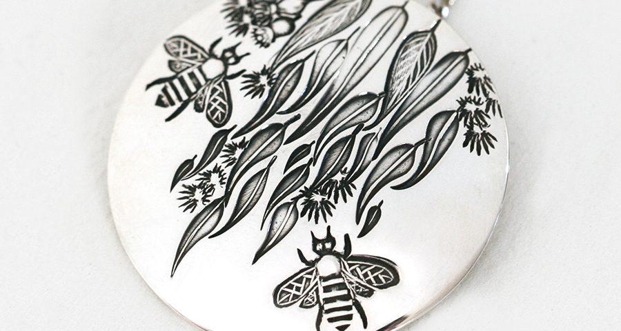 gum-leaf-bees-john-miller-design-sterling-silver-pendant-domed