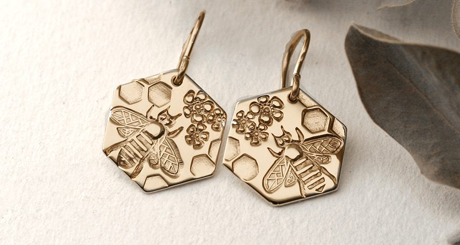 hexagonal bees gold honeycomb flowers