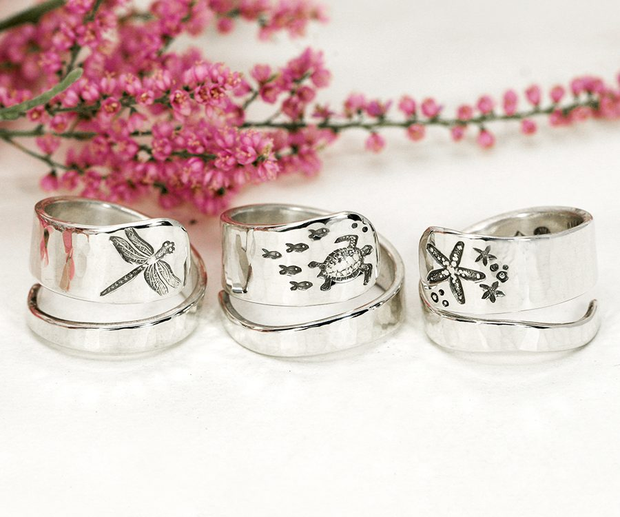 spirals-sterling-silver-rings-dragonfly-turtle-starfish-john-miller-design