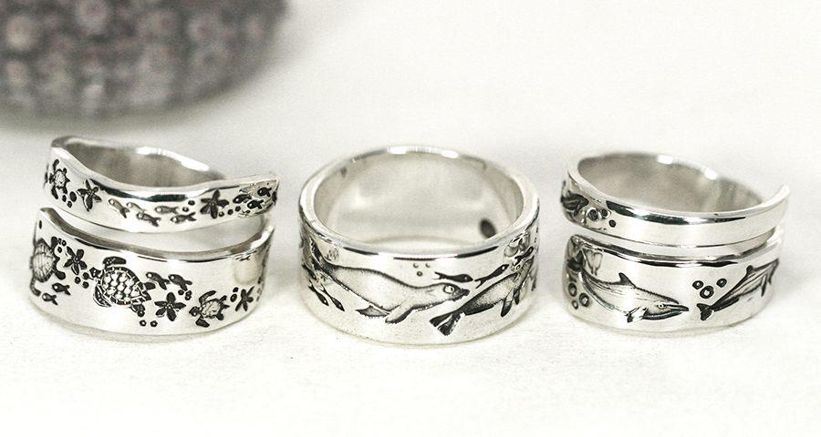 underwater-rings-sterling-silver-ocean-spiral-turtles-dolphins