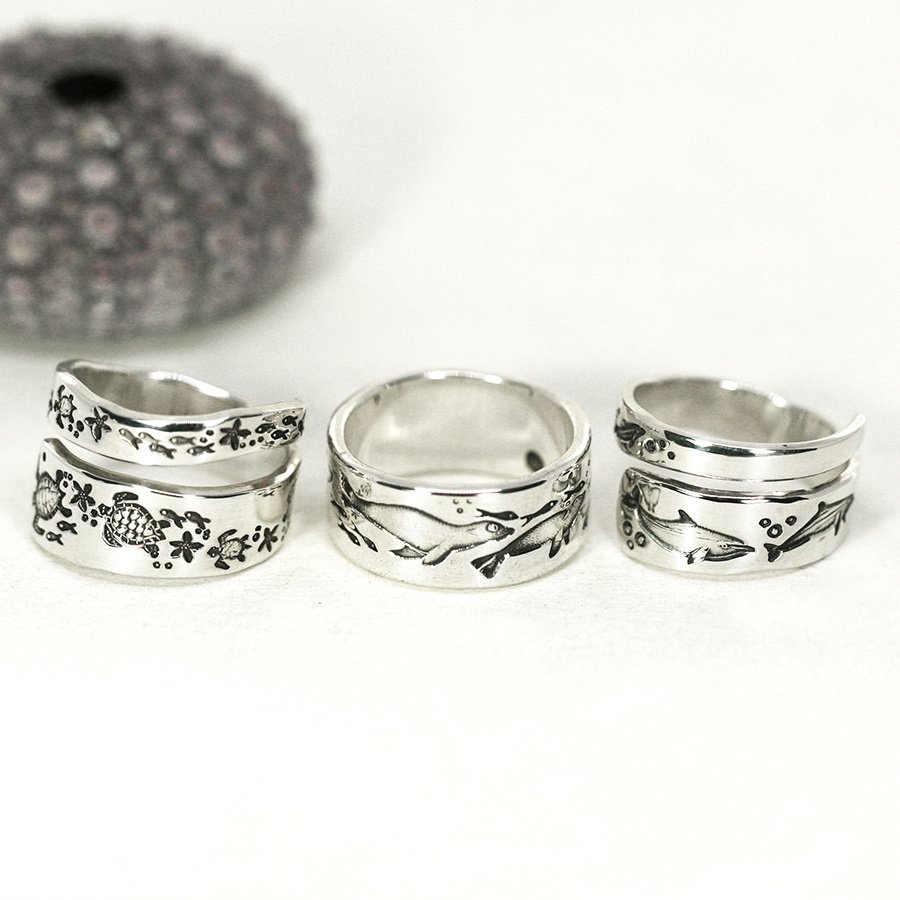 underwater-rings-sterling-silver-ocean-spiral-turtles-seals-dolphins
