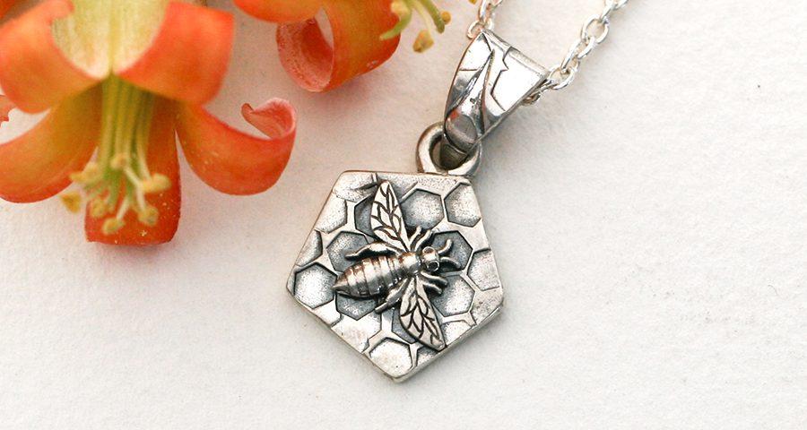 sterling-silver-pendant-3D-bee-on-honeycomb-john-miller-design