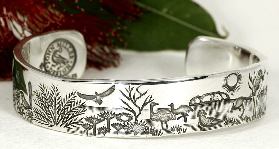Aussie-Outback- sterling-silver-handcrafted-cuff-john-miller-design