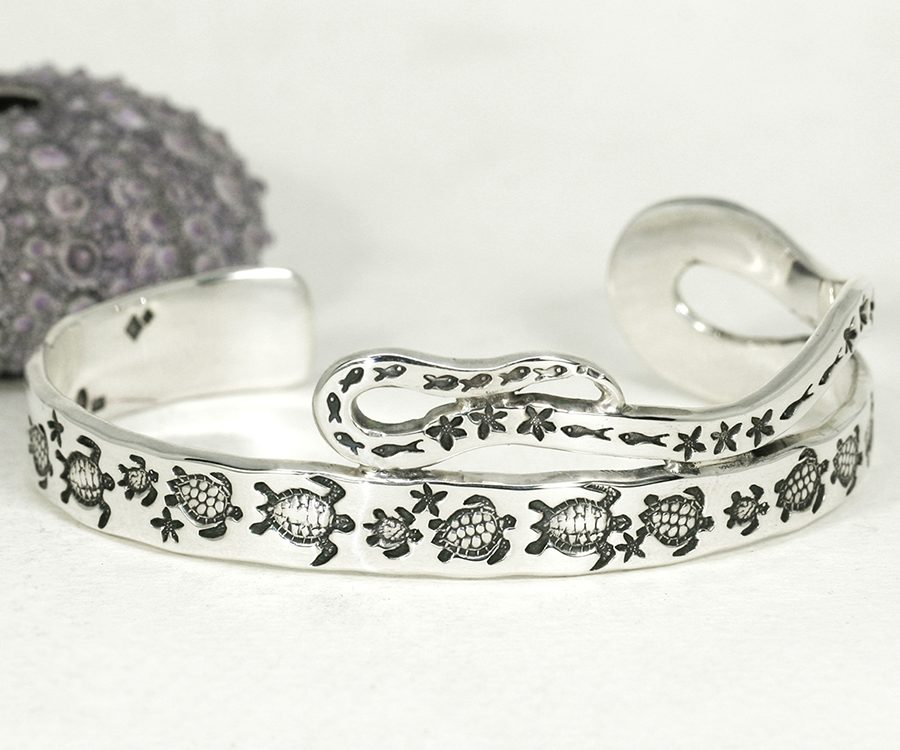 Turtle March sterling silver cuff something special
