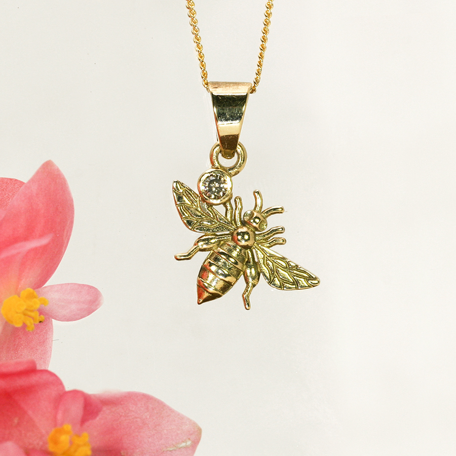 Bee and diamond yellow fused gold pendant john miller design