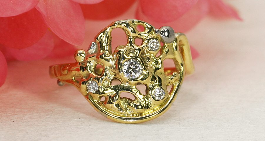 Mystical Moonrise fused 18ct yellow gold and diamond ring john miller design