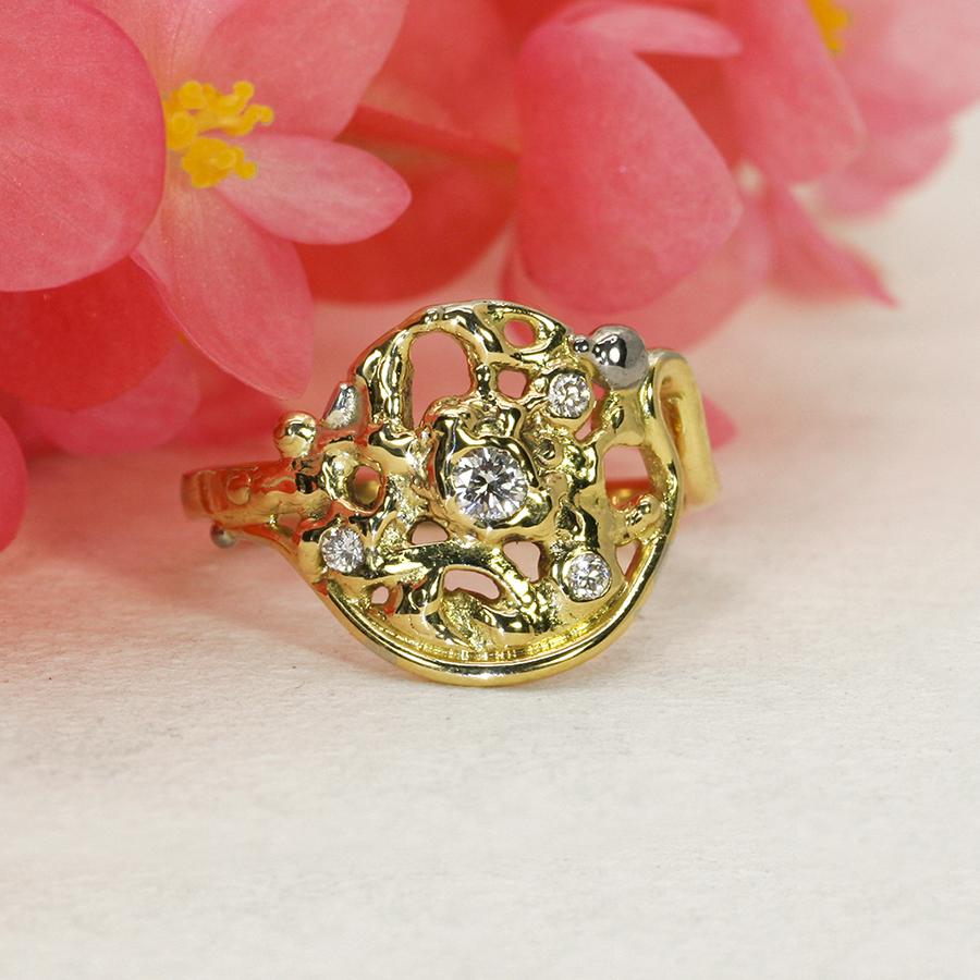 Mystical Moonrise fused 18ct yellow gold and diamond ring john miller design