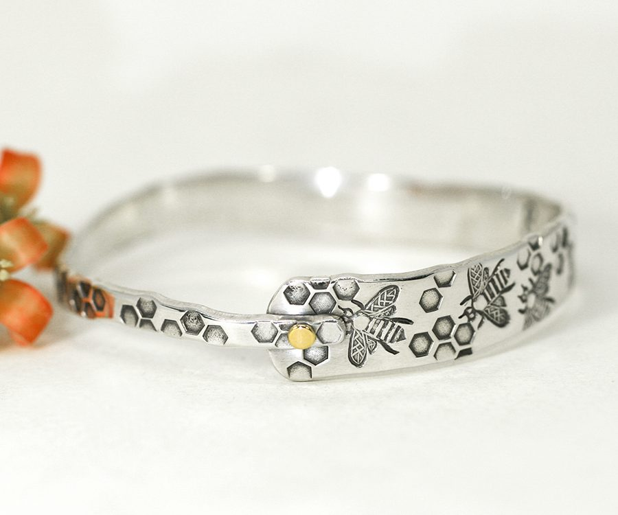 sterling-silver-bangle-bees-honeycomb-with-18ct-gold-rivet-john-miller-design