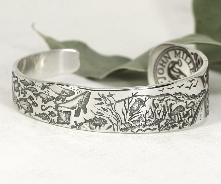 Ocean-to-Outback-Road-sterling-silver-cuff-john-miller-design