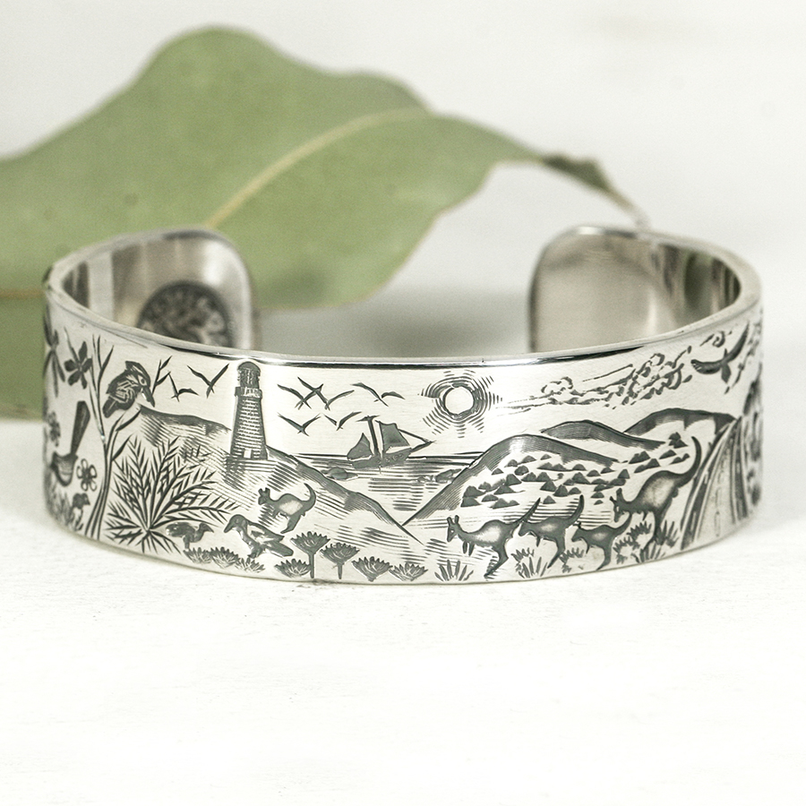 Holiday-in-WA-sterling-silver-cuff-with-western-australian-scene-john-miller-design