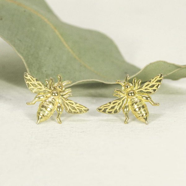 18ct yellow gold Bee stud earrings - Large