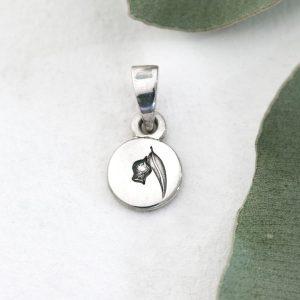 Sterling silver Gumleaf & gumnut round pendant