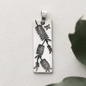 Sterling silver bottle brush long rectangle pendant