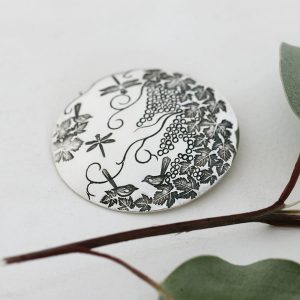 Sterling silver large round pendant with grapevines & dragonflies
