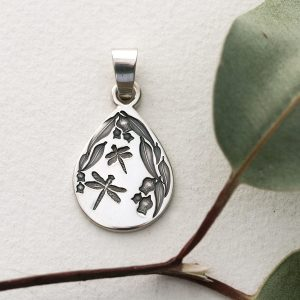 Sterling silver dragonfly & gum leaves teardrop pendant