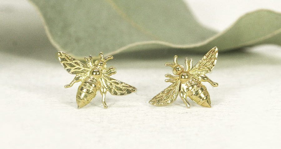 18ct yellow gold Bee stud earrings - Small