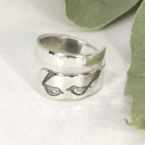 Sterling silver Wren hammer beat spiral ring