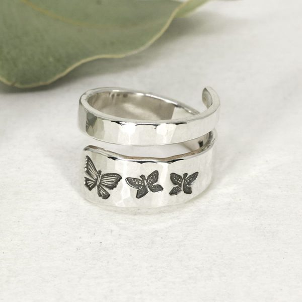 Sterling silver Butterfly hammer beat spiral ring