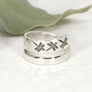 Sterling silver Dragonfly hammer beat spiral ring