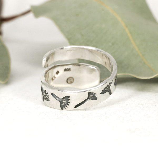 Sterling silver Dragonfly & Everlasting spiral ring back