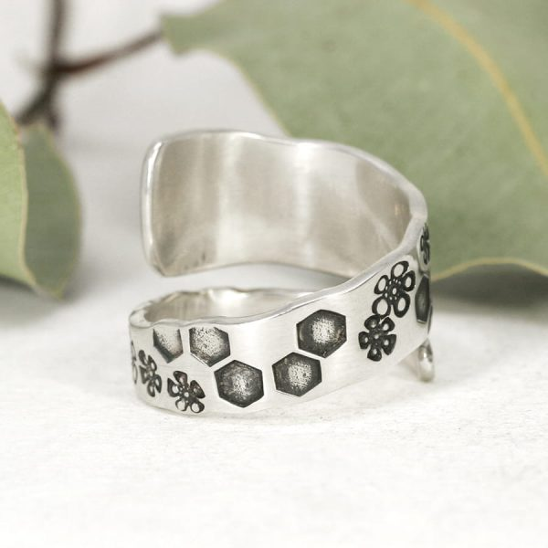 Sterling silver Bee spiral ring back