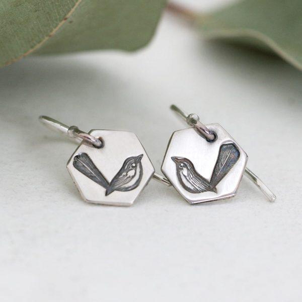 Sterling silver small Wren drop earrings