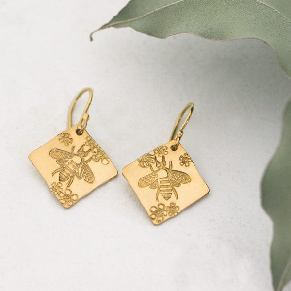 18ct yellow gold Bee and Geraldton wax earrings