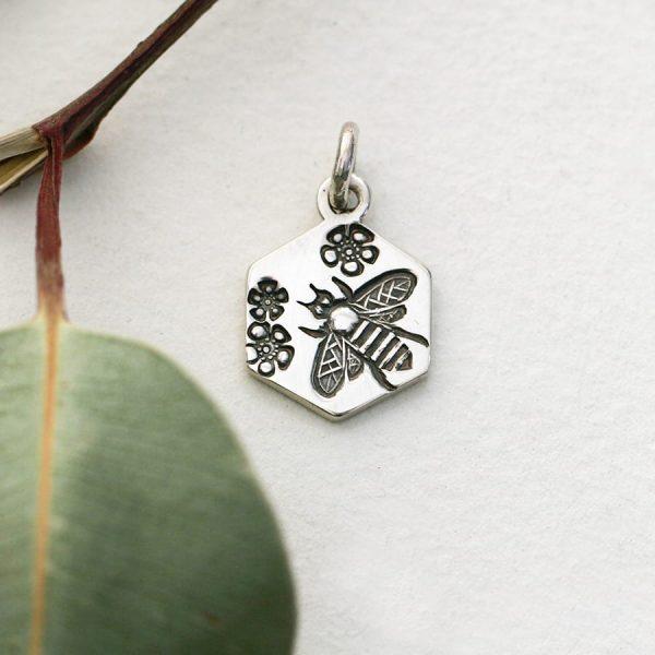 Sterling silver Bee & Geraldton wax hexagonal pendant