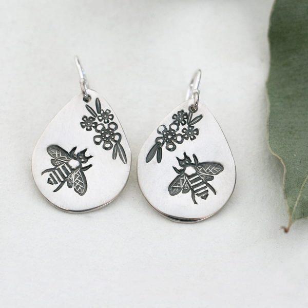 Sterling Silver Bee & Geraldton Wax teardrop earrings