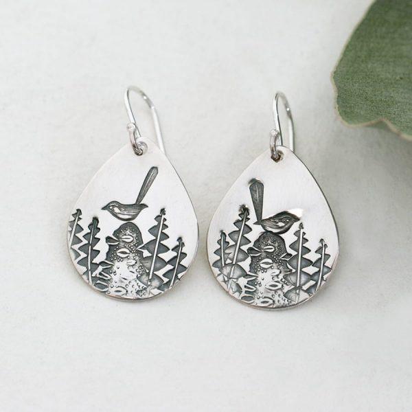 Sterling Silver Wren & Banksia teardrop earrings