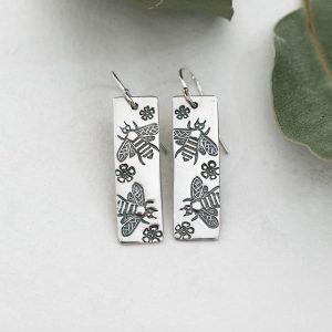 Sterling silver Bees & Geraldton Wax flower earrings