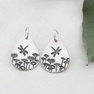 Sterling Silver Dragonfly & Everlasting teardrop earrings
