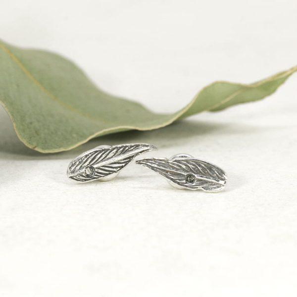 Sterling silver Gumleaf stud earrings