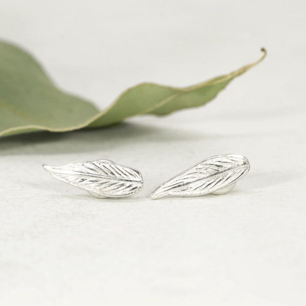 Sterling silver Gumleaf stud earrings
