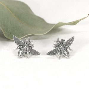 Sterling silver Bee stud earrings - Large - Patina