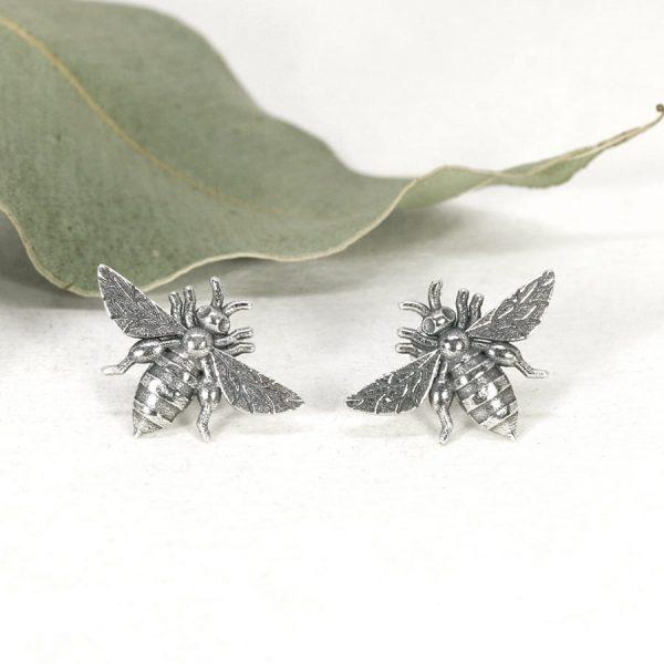 Sterling silver Bee stud earrings - Large - Patina