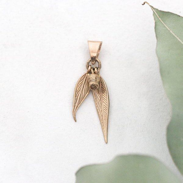 18ct rose gold Gum nut and Gum leaves pendant