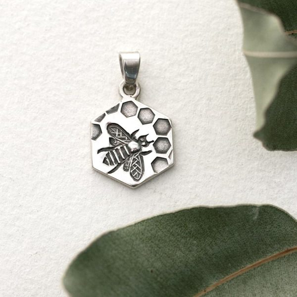Sterling silver Bee & Honeycomb hexagonal pendant
