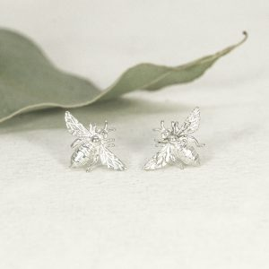 Sterling silver Bee stud earrings - Small - No patina