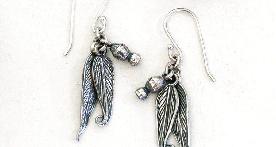 Sterling silver Gumnut & gumleaf earrings patina