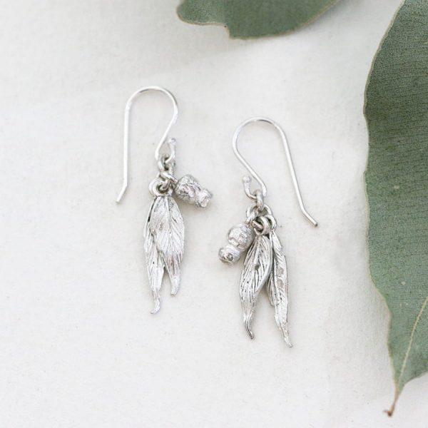 Sterling silver Gumnut & gumleaf earrings no patina