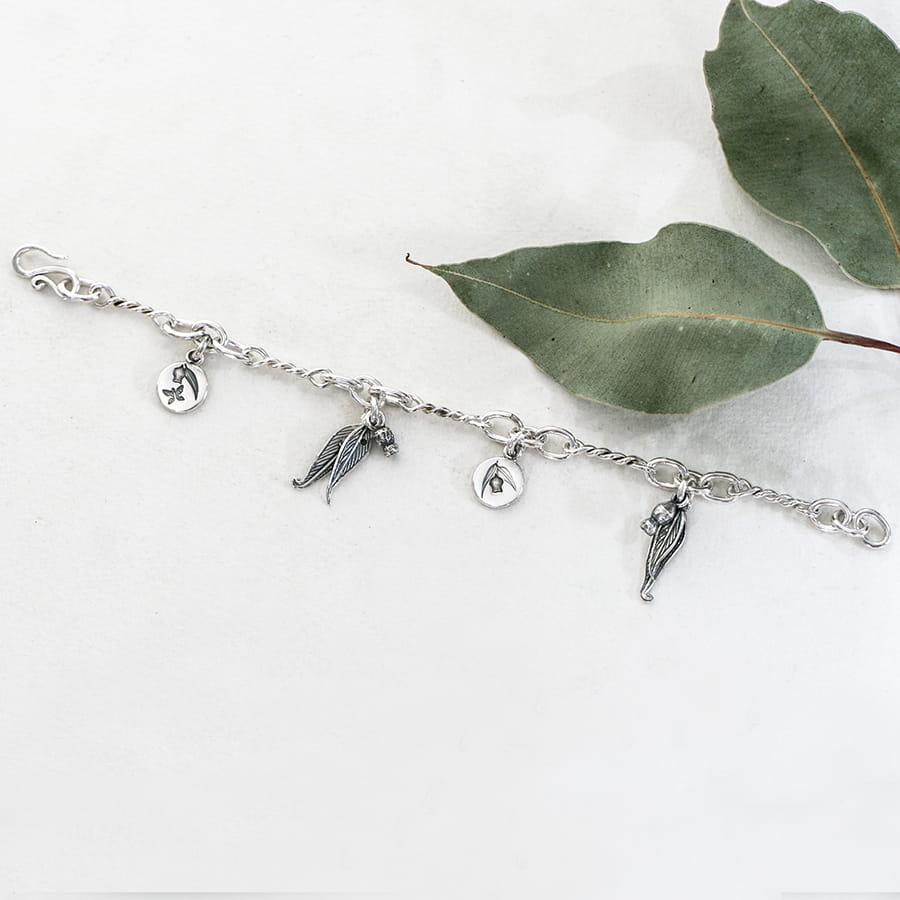 Sterling silver gumleaf charm bracelet