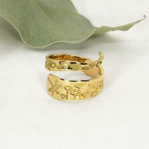 18ct YG Dragonfly & Everlasting spiral ring - Front