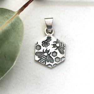 Sterling silver Bee, Geraldton Wax & Honeycomb hexagonal pendant