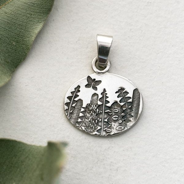 Sterling silver oval banksia pendant